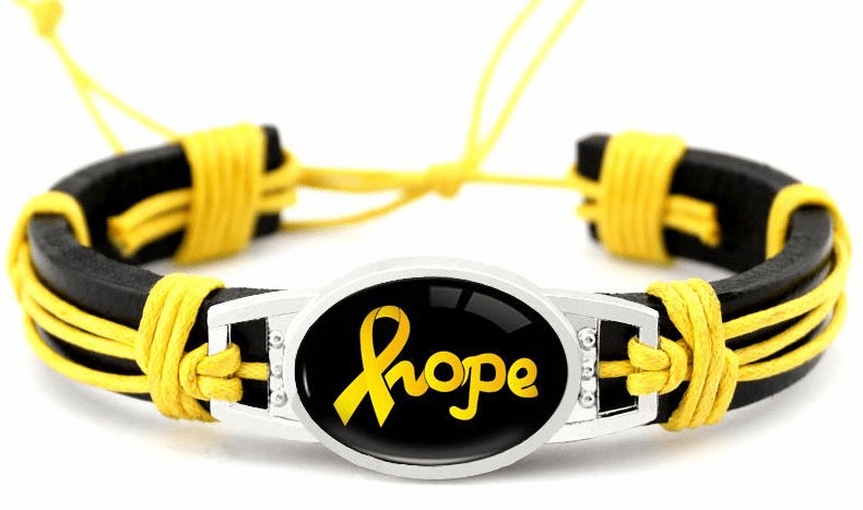 "Yellow Hope Ribbon Cancer Awareness Black Leather Cord 7.5"" - 8.5"" Bracelet"