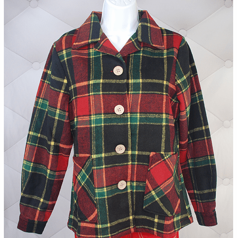 1940's Button Down Jacket-Green/Red