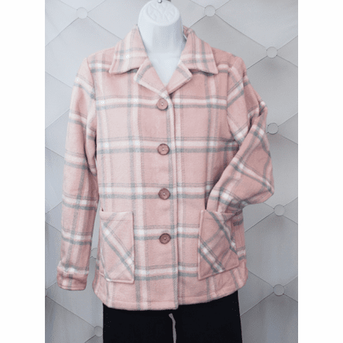 1940's Button Down Jacket-Pink/Silver