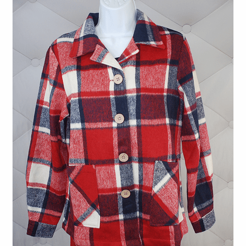 1940's Button Down Jacket-Red/Blue