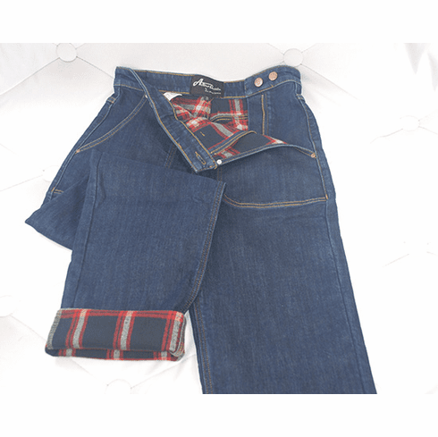 1940s Reproduction Flannel Lined Jeans - Red/Blue