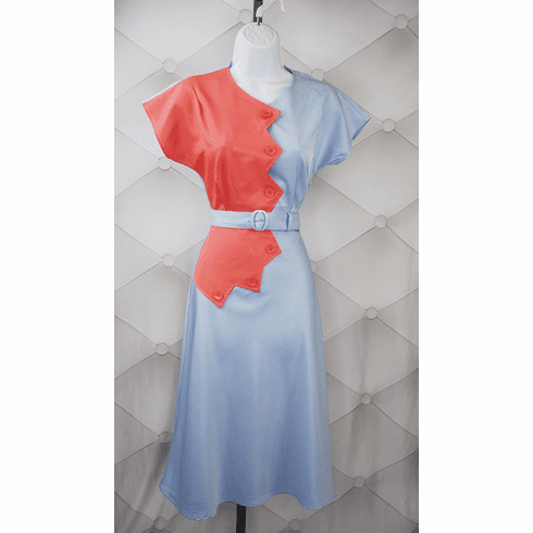 1940s Reproduction Sawtooth Color Block Dress - Coral/Blue