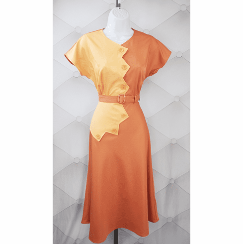 1940s Reproduction Sawtooth Color Block Dress - Peach/Copper