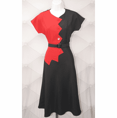 1940s Reproduction Sawtooth Color Block Dress - Red/Black-10021