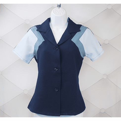 1940s Reproduction Tri-Tone Short Sleeve Work Blouse - Navy