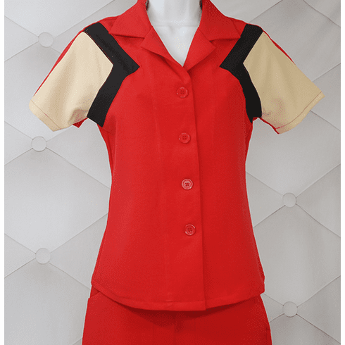 1940s Reproduction Tri-Tone Short Sleeve Work Blouse - Red