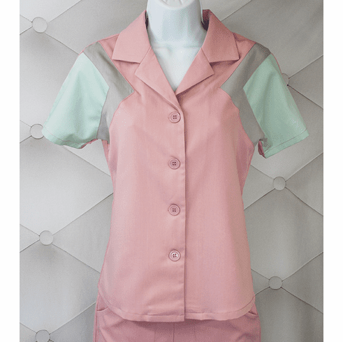 1940s Reproduction Tri-Tone Short Sleeve Work Blouse - Rose
