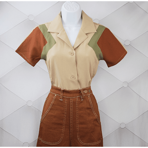 1940s Reproduction Tri-Tone Short Sleeve Work Blouse - Tan