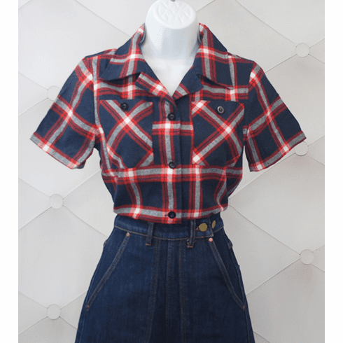 1940s Reproduction Work Blouse - SS Red/Blue