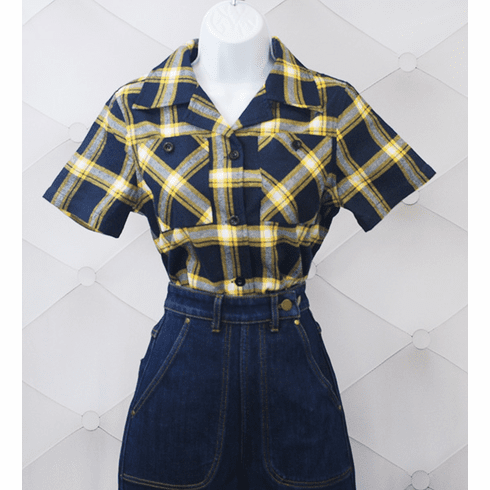 1940s Reproduction Work Blouse - SS Yellow/Blue