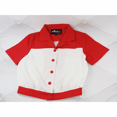 1940s Two-Tone Short Sleeve Work Blouse - Red