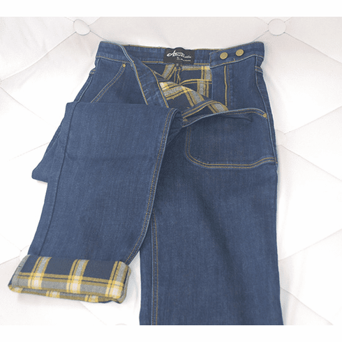 1940s Reproduction Flannel Lined Jeans - Yellow/Blue