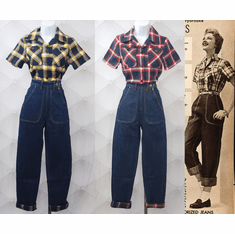 40s Style Work Blouse and Flannel Lined Jeans