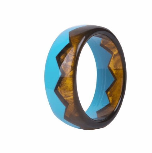 Audrey Blue and Tortoise Sawtooth Cuff