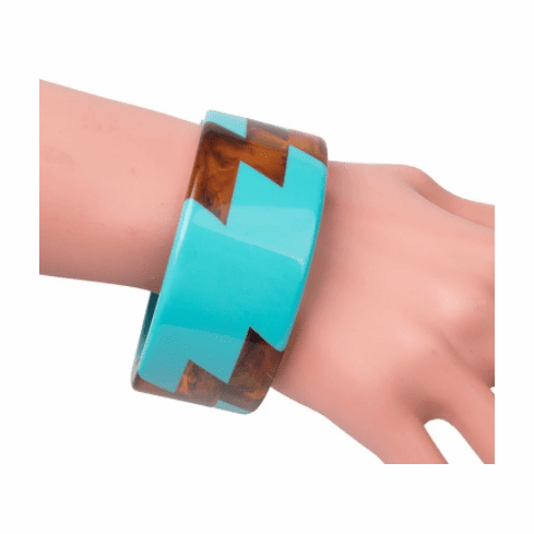 Audrey Turquoise and Tortoise Lightning Bolt Cuff