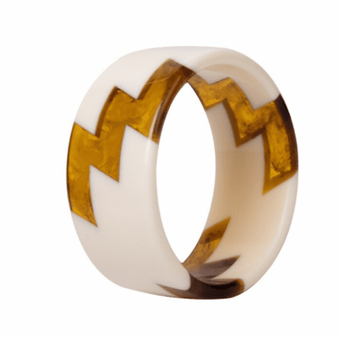 Audrey White and Tortoise Lightning Bolt Cuff