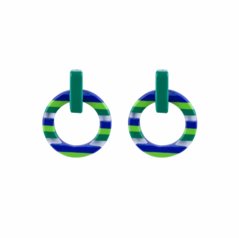 Circus Green, Blue and Clear Stripe Earrings