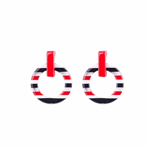 Circus Red, Black, and White Stripe Earrings