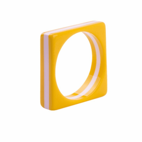 Circus Yellow and White Stripe Square Spacer