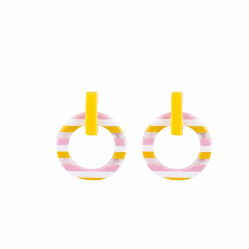 Circus Yellow, Pink, and White Stripe Earrings