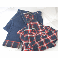 Reproduction 1940s Work Blouse and Flannel Lined Jeans - Red