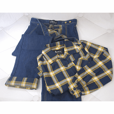 Reproduction 1940s Work Blouse and Flannel Lined Jeans - Yellow