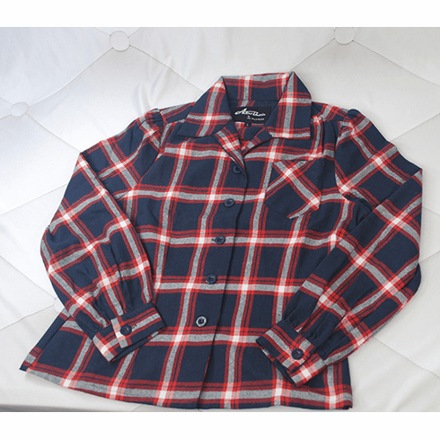 1940s Reproduction Work Blouse - Red/Blue
