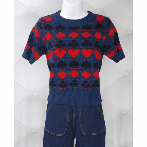 Reproduction Playing Cards Sweater - Navy