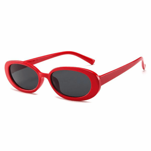 Sunglasses - Solid Red Oval