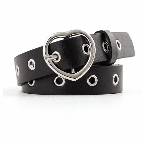 Vintage Inspired Heart Shaped Belt - Black