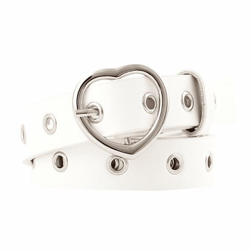 Vintage Inspired Heart Shaped Belt - White