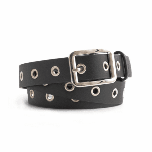 Vintage Inspired Square Shaped Belt - Matte Black
