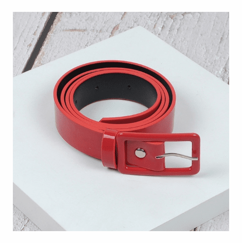 Vintage Inspired Square Shaped Belt - Red