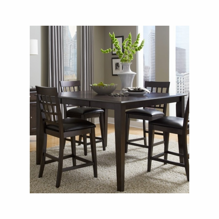 A America Bristol Point 36 54 Square Gathering Height Table With Butterfly Leaf In Warm Grey