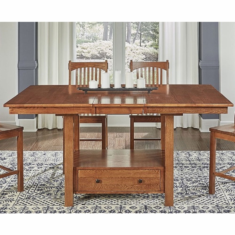 A-America - Laurelhurst 72 Rectangular Gathering Height Table with  Butterfly Leaf in Mission Oak Finish - LAUOA6720