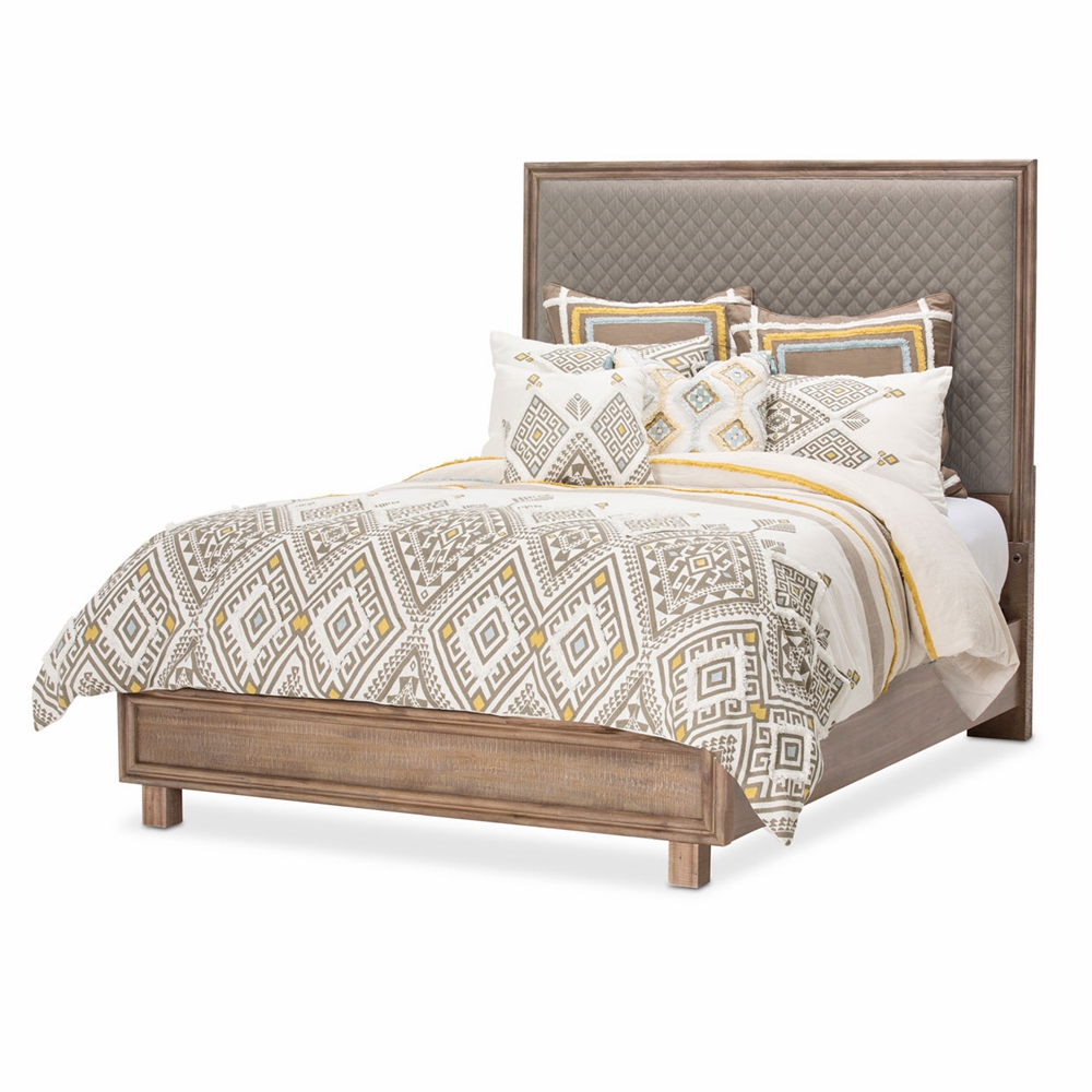 AICO by Michael Amini - Hudson Ferry King Diamond Quilted Panel Bedroom Set  (7 pc) in Driftwood