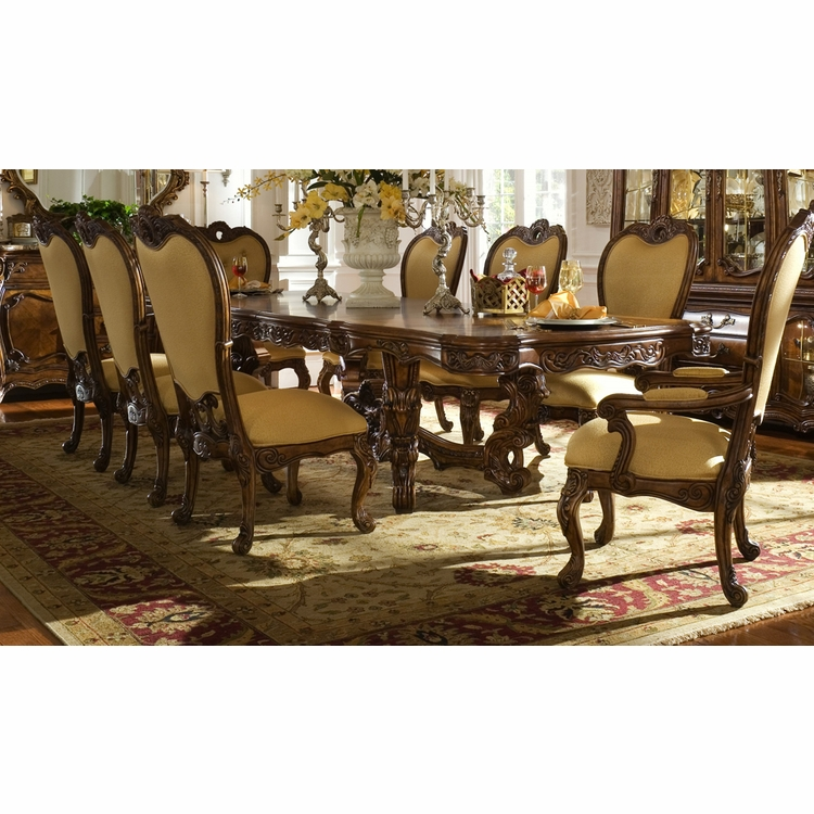 AICO by Michael Amini - Palais Royale Rect. Dining Room Set (9 pc) in Rococo Cognac