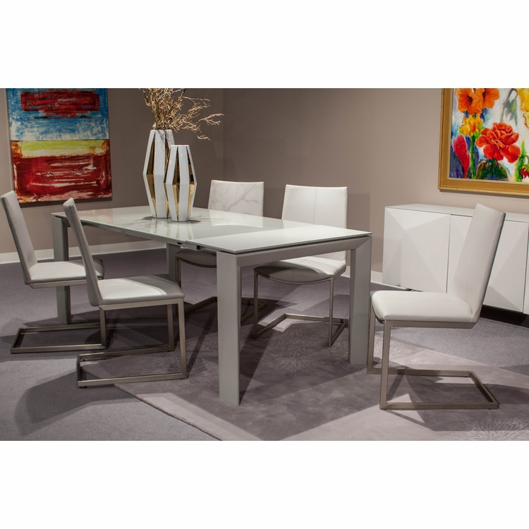 AICO by Michael Amini - Trance Milan Rect. Glass Dining Room Set (7 pc)