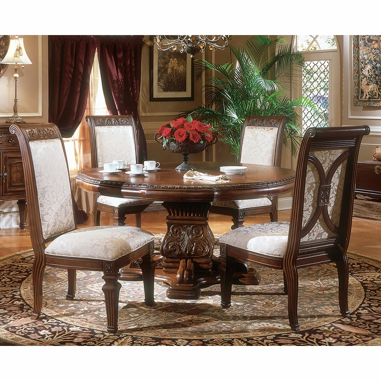 AICO by Michael Amini - Villagio Round Dining Room Set w/ Side Chairs (5 pc) in Hazelnut