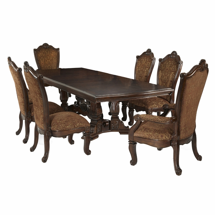 AICO by Michael Amini - Windsor Court Rect. Dining Room Set (7 pc) in Vintage Fruitwood