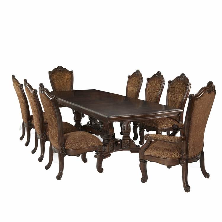 AICO by Michael Amini - Windsor Court Rect. Dining Room Set (9 pc) in Vintage Fruitwood