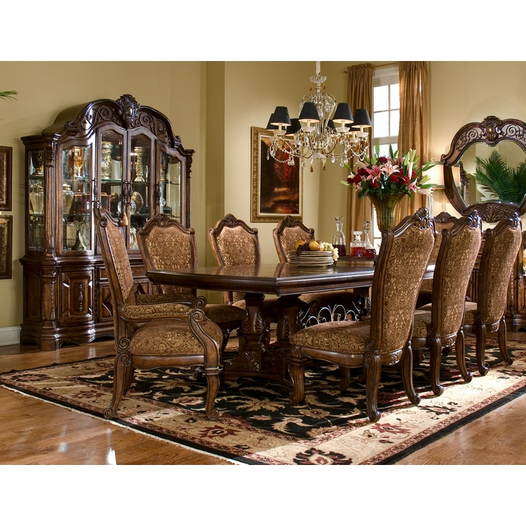 AICO by Michael Amini - Windsor Court Rect. Dining Room Set w/ China & Buffet (11 pc) in Vintage Fruitwood