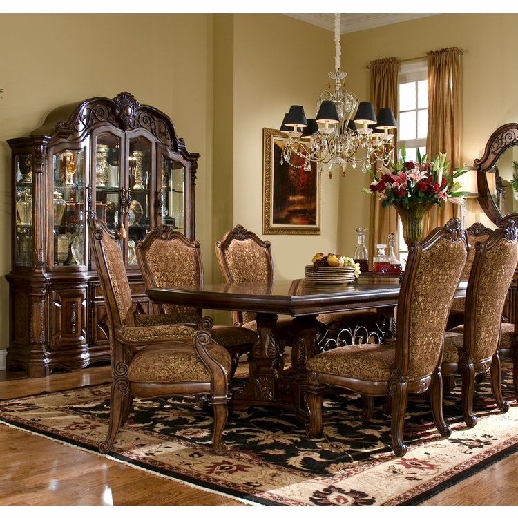 AICO by Michael Amini - Windsor Court Rect. Dining Room Set w/ China & Buffet (9 pc) in Vintage Fruitwood