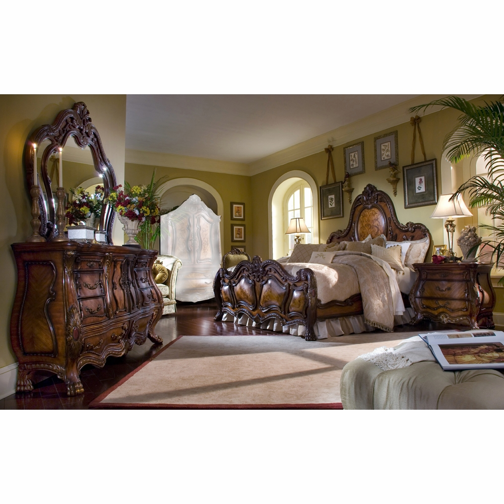 AICO by Michael Amini - Chateau Beauvais Cal. King Bedroom Set (7 pc) in  Noble Bark