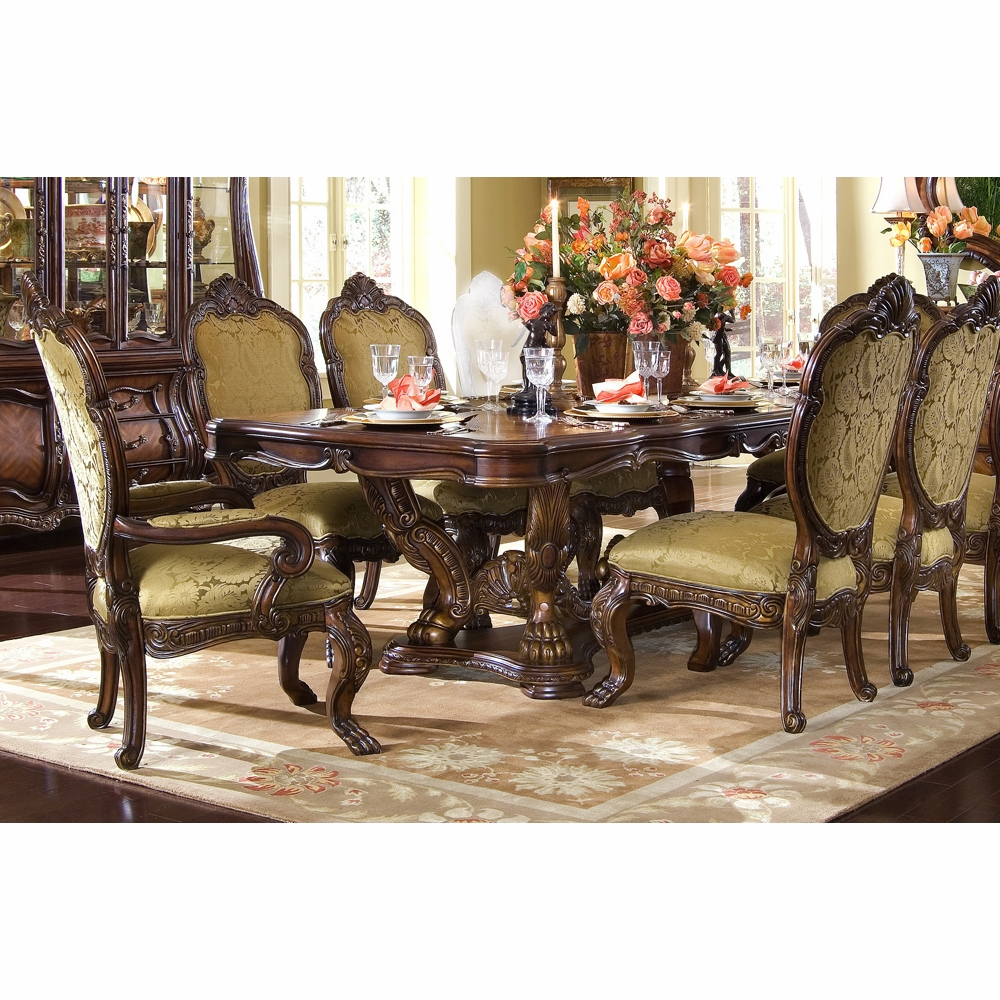 Y AICO By Michael Amini Chateau Beauvais Rect Dining Room Set 7 Pc In Noble  Bark