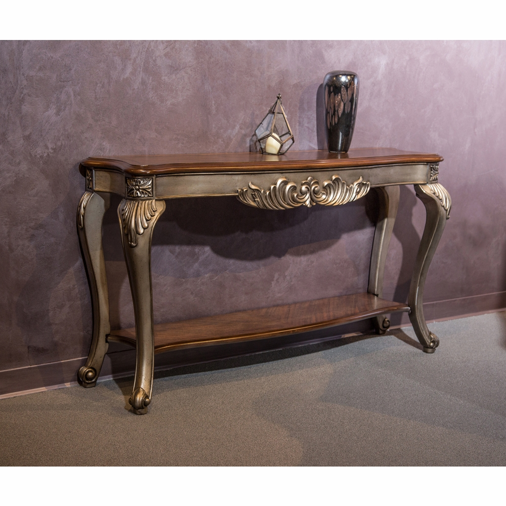Marvelous Aico By Michael Amini Freestanding Lisette Console Table In Antique Platinum Fs Lsete223 101 Cjindustries Chair Design For Home Cjindustriesco