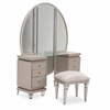 AICO by Michael Amini - Glimmering Heights Upholstered Vanity Complete in Ivory (3pc)