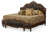 AICO by Michael Amini - Lavelle King Wing Mansion Bed w/ Leather Tufted Insert in Melange