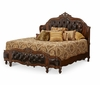 AICO by Michael Amini - Lavelle Queen Wing Mansion Bed w/ Leather Tufted Insert in Melange