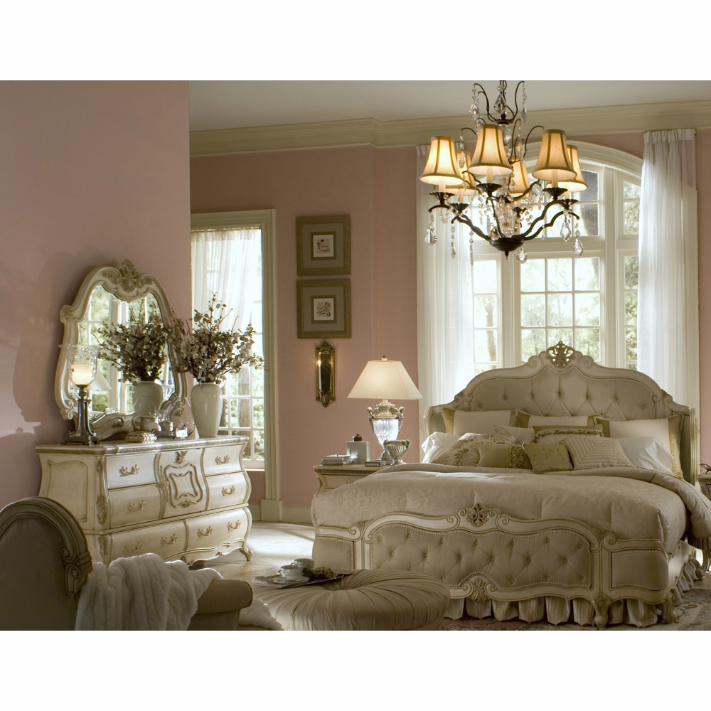 AICO by Michael Amini - Lavelle Queen Wing Mansion Bedroom Set (6 pc) in  Blanc